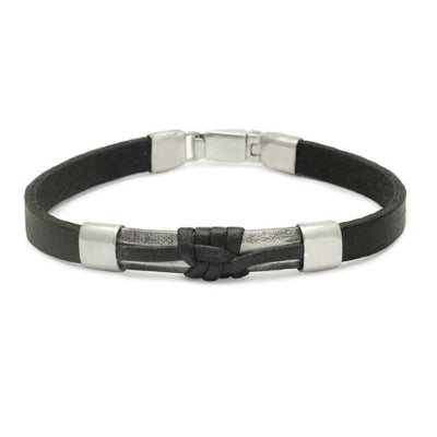 Easy click catch sterling silver & leather designer bracelet