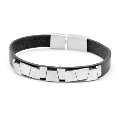 stunning sterling silver leather designer mens bangle Annika Rutlin