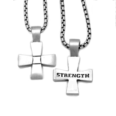 sterling silver geometric cross engraved with strength on chain