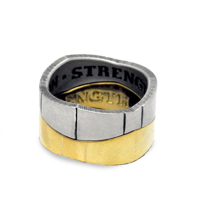armour style stacking rings in solid silver & gold vermeil
