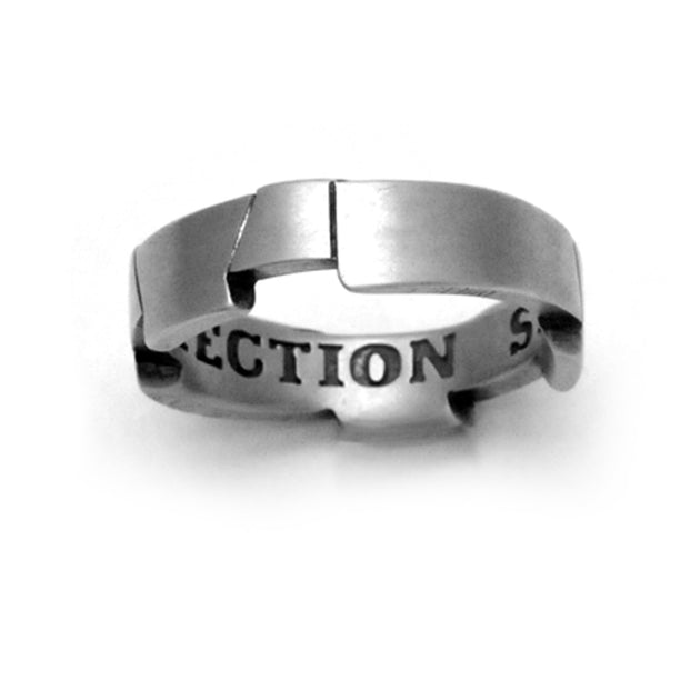 Strength & protection engraved armour style silver mens ring