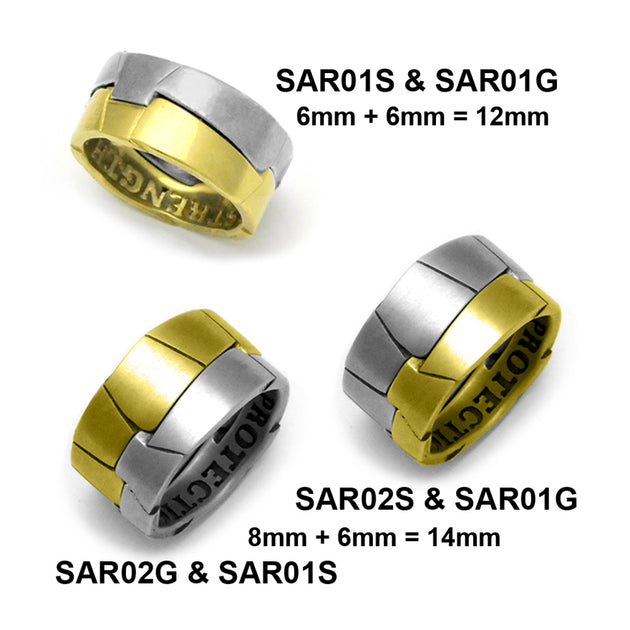 Silver & gold interlocking armour style Saracen rings Annika Rutlin