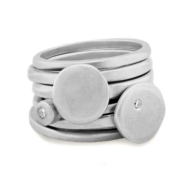 Cairn collection small stack 6 ring plain & diamond stacking rings CAR1467