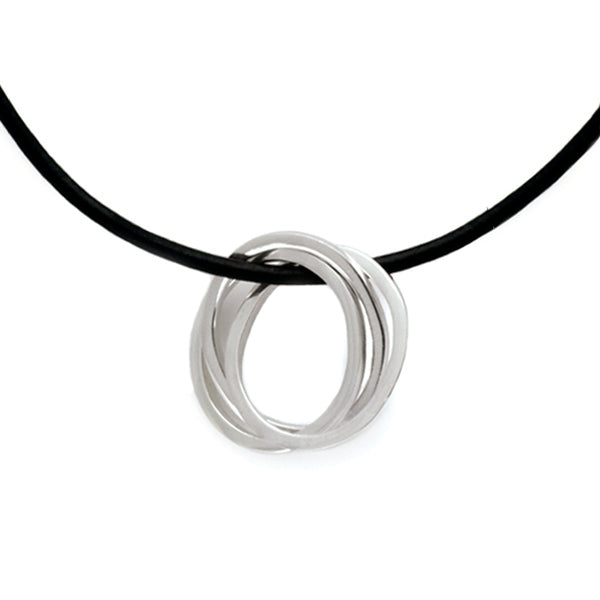 United interlocking circles pendant on leather UN42L