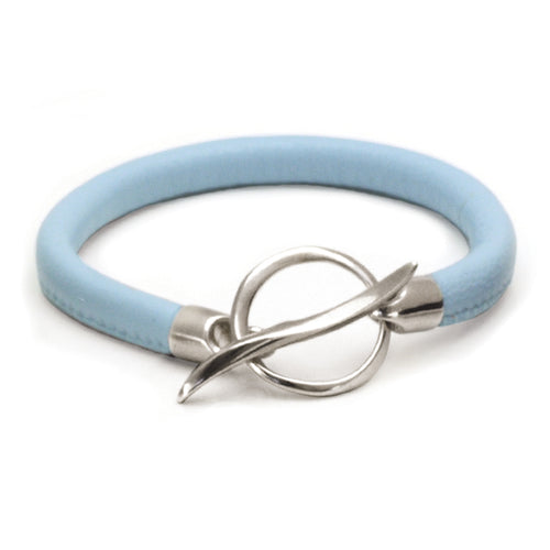 Annika Rutlin high quality nappa soft leather silver fastening bracelet  White Tara nappa leather T-bar Bracelet WTB66