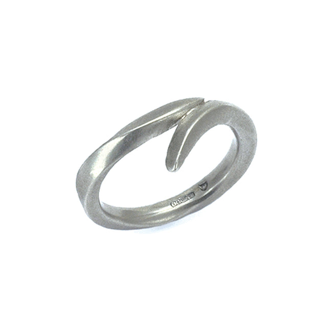 wrap over carved silver ring by jewellery designer Annika Rutlin