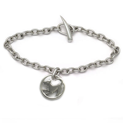 Lucky talisman year of the dog modern jewelelry sterling silver chain bracelet
