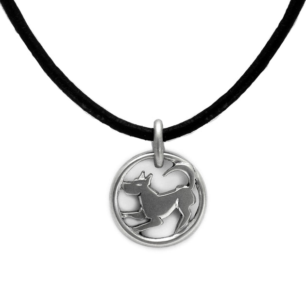 Chinese new year lucky charm year of the dog solid silver pendant by designer Annika Rutlin