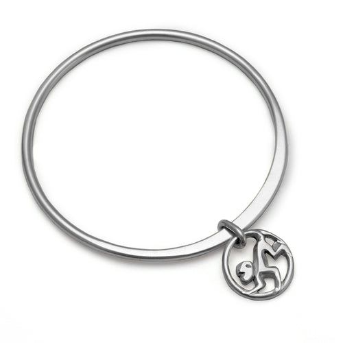 Lucky talisman year of the monkey forged silver bangle by Annika Rutlin