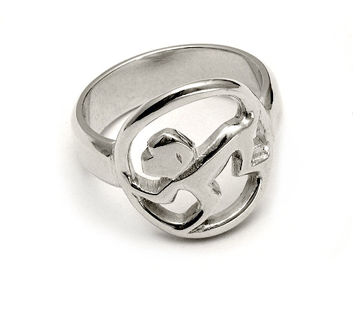 leaping monkey signet ring sterling silver by Annika Rutlin jewellery