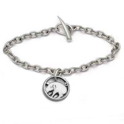 Lucky charm Year of the pPig designer silver charm chain bracelet