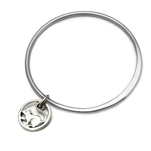 Rat charm solid silver bangle unique designer jewellery Annika Rutlin