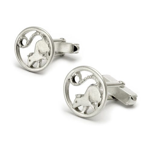 Stylish modern rat animal cufflinks solid silver by Annika Rutlin