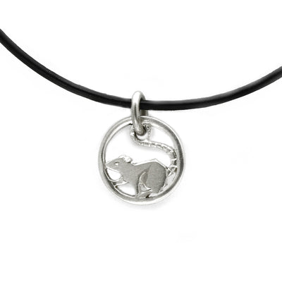 Solid silver happy running rat designer pendant