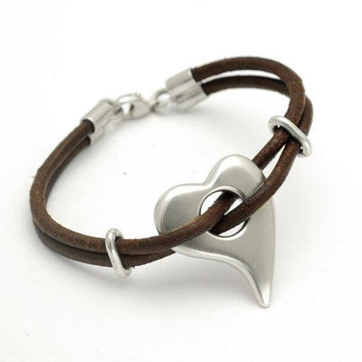 Amitie heart sterling silver pebble heart bracelet on leather