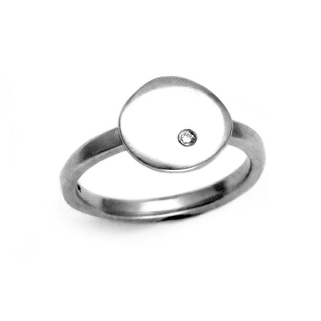 Annika Rutlin flat pebble 1.5mm diamond set silver stacking ring