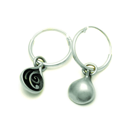 Monsoon Collection ME22 reversible plain or patterned sterling silver creole sleeper earrings by Annika Rutlin