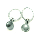 Monsoon Collection ME22 reversible plain side sterling silver creole sleeper earrings by Annika Rutlin