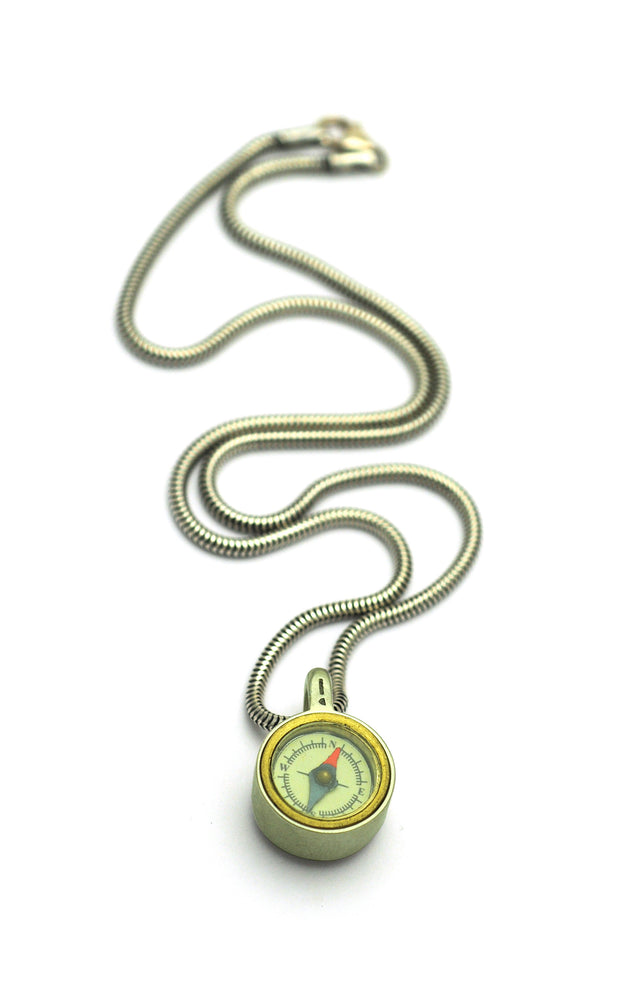 GN47S Geo Collection sterling silver reversable compass pendant on snake chain by Annika Rutlin