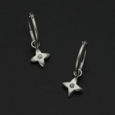 Aniara tiny flower star diamond sleeper earring SFE23D