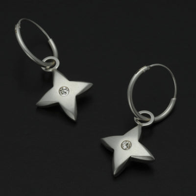 Aniara medium flower star hoop earrings SFE27D