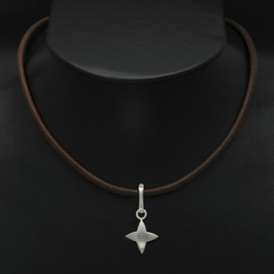 Aniara star flower diamond pendant on leather SFP45D-le