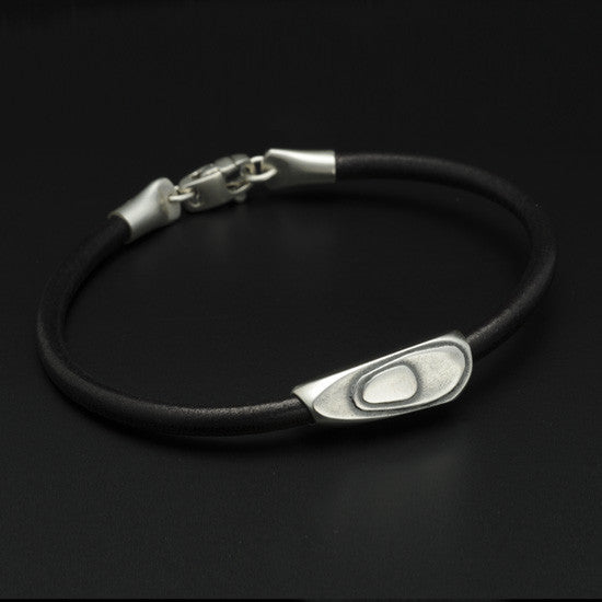 Geo leather & silver bead bracelet GB67L