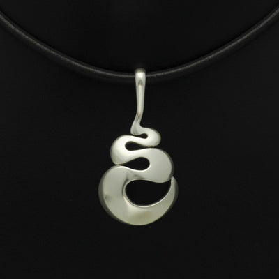 Efja bulbous swirl pendant on leather JN42L