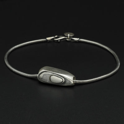 Geo silver bead on snake chain bracelet GB66S
