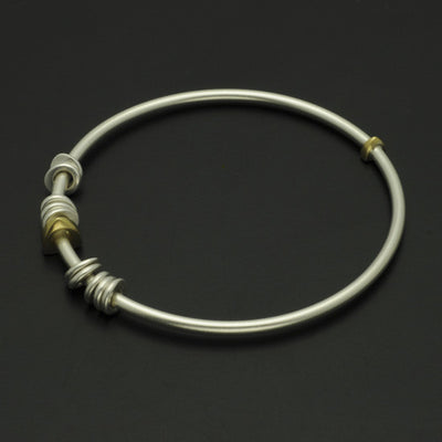 Idun silver & 18 carat yellow gold bangle IB84GL