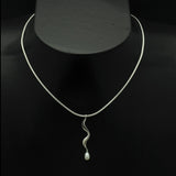 Luna silver wave drop white pearl pendant LP42-WP