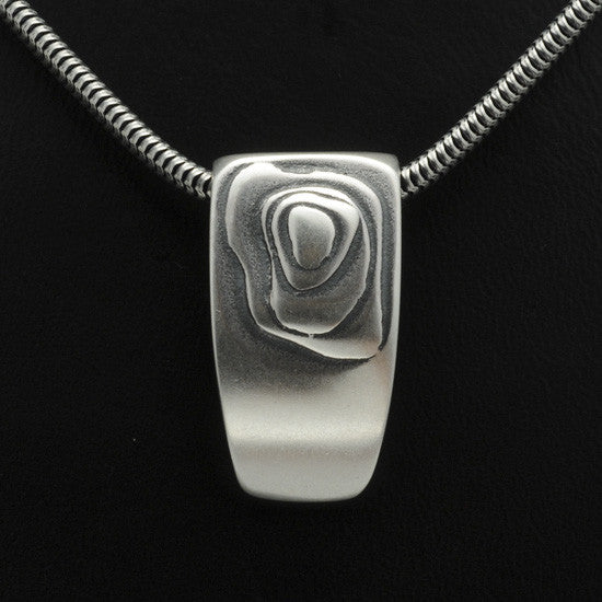 Geo layered silver pendant on snake chain GN42S