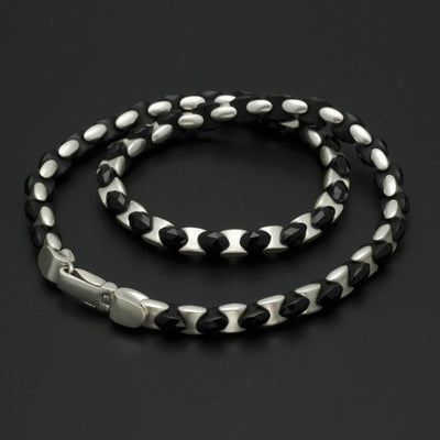 BlackJack interlocking bead silver & black onyx gem necklace BJN45