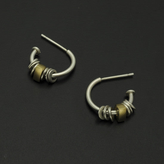 Idun 3/4 hoop silver & 18carat yellow gold hoop earrings IE40GL