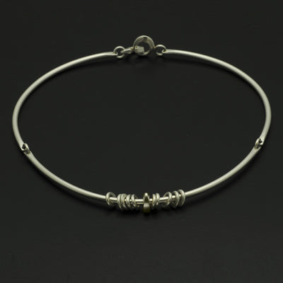 Idun three part silver torc with beads IN70SL