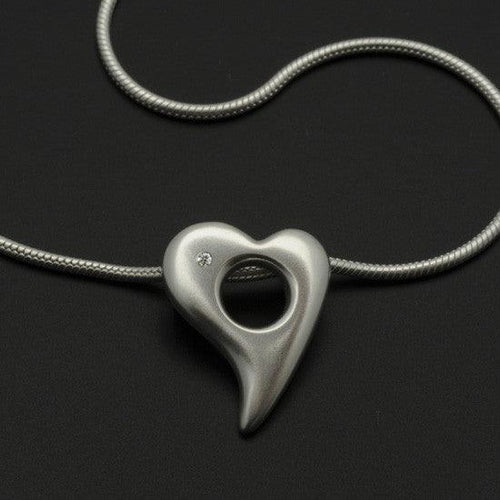 Amitie heart diamond pendant on snake chain ANH59D1