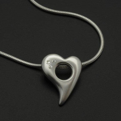 Amitie heart diamond pendant on snake chain ANH59D3