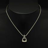 Idun silver AR logo shaped pendant on snake chain IN54PL