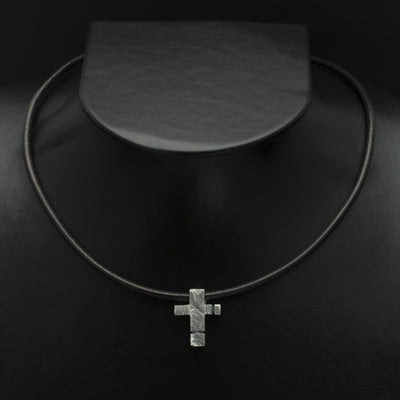 Ixion silver cross pendant on leather XP51-LE