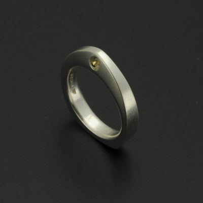 Idun pointed silver ring with 18 carat yellow gold rivet IR09GR