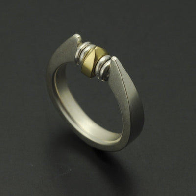 Idun silver & 18 carat yellow gold moving bead ring IR06GL