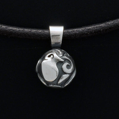 Talisman silver Aquarius horoscope pendant on leather