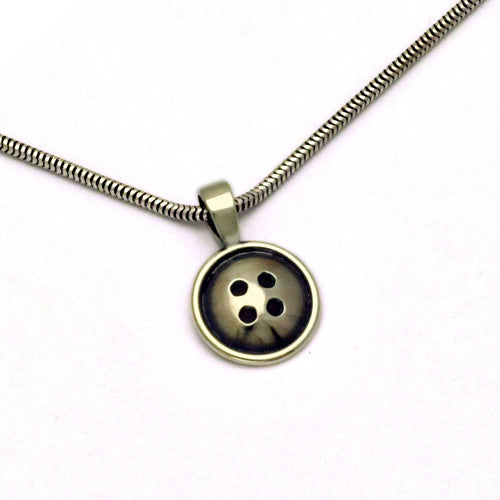 Button small pendant on snake chain BTN41S