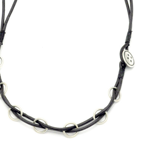 Button silver & leather necklace BTN44L