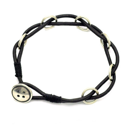 Button silver and leather bracelet BTB51L