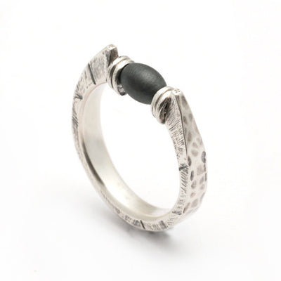 Raven forged and set with central hematite bead ring RR06