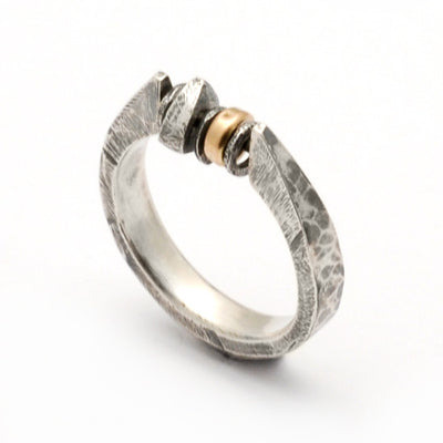 Raven mixed metal forged bead ring RR07