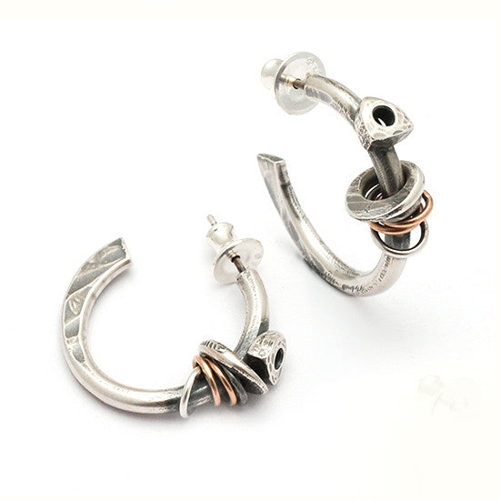 Raven forged hoop earrings RE26