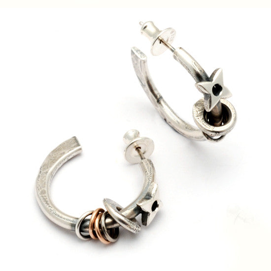 Raven forged hoop star earrings RE27