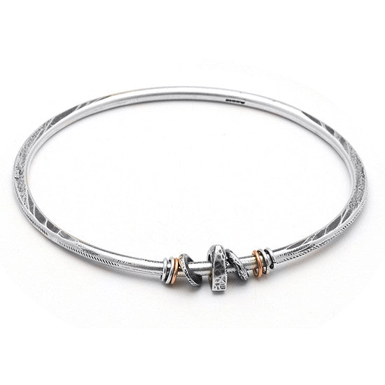 Raven forged bead bangle RB53
